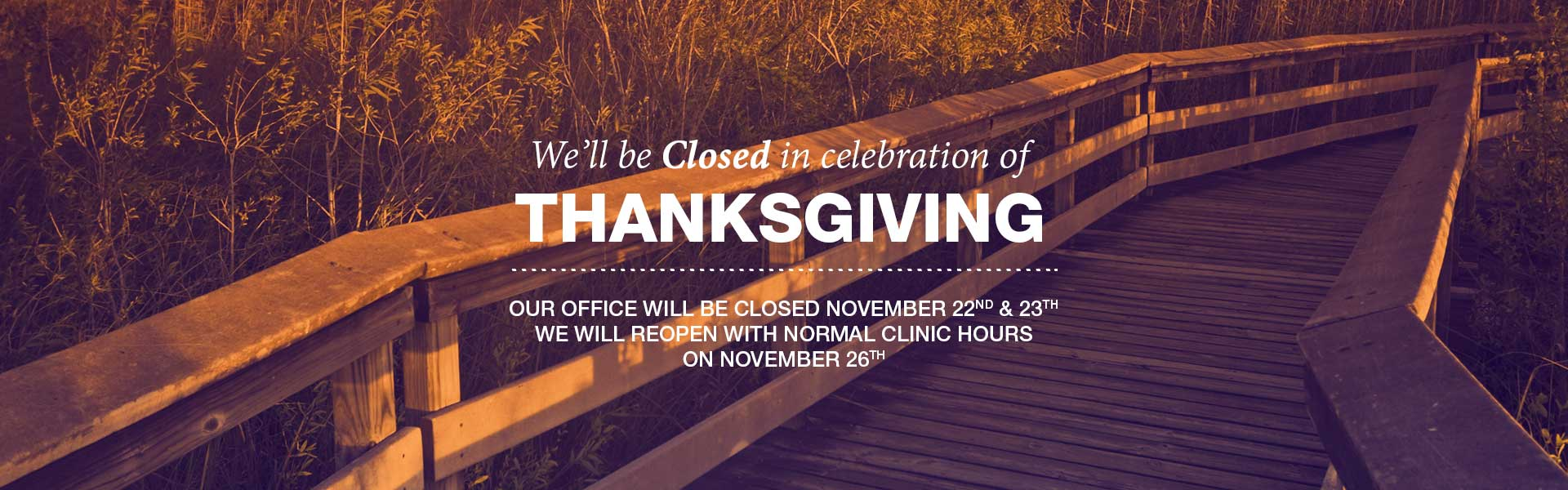 Closed office for Thanksgiving Banner - East Alabama Ear, Nose & Throat P.C.